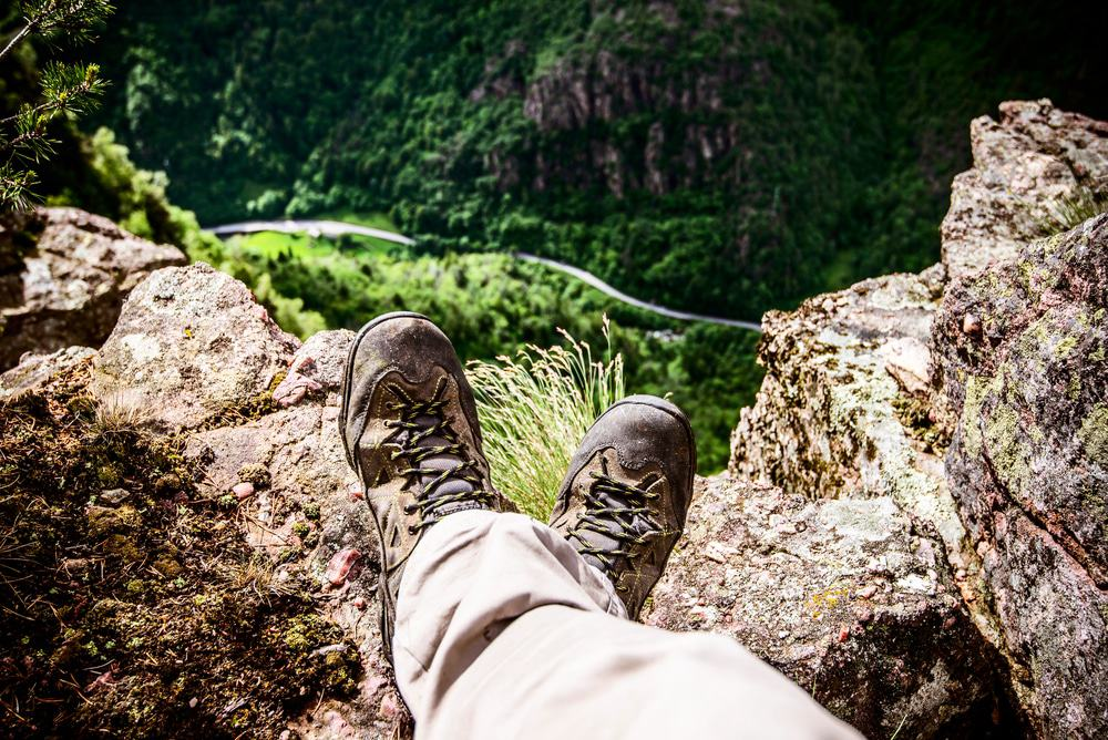 outdoor tired person wearing hiking shoes