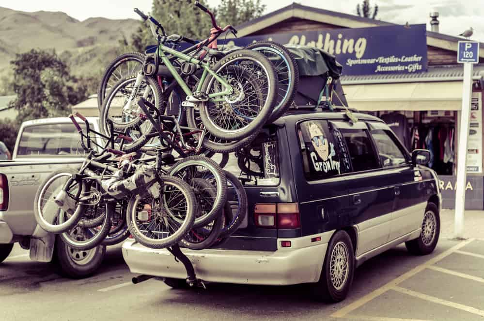 Bikes Loaded on the Back of a Car
