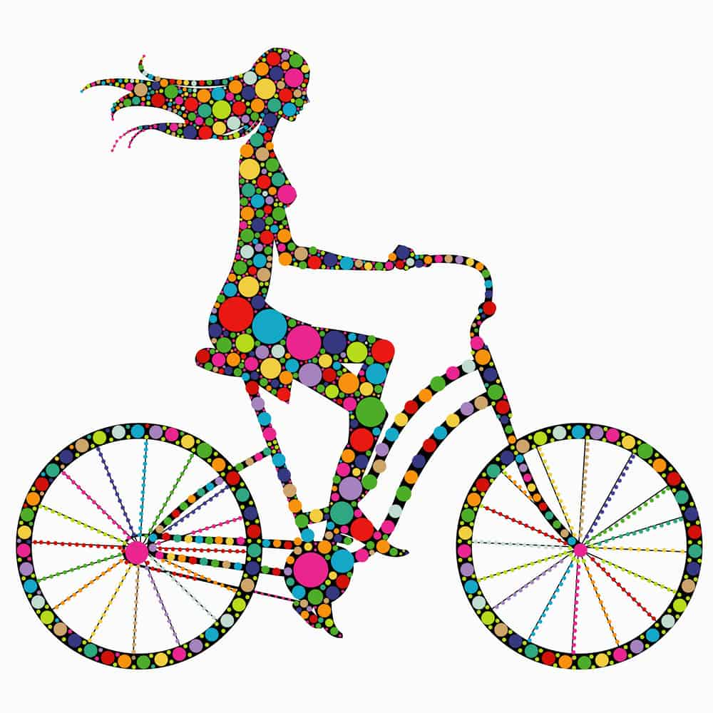 Silhouette of a girl on a bicycle
