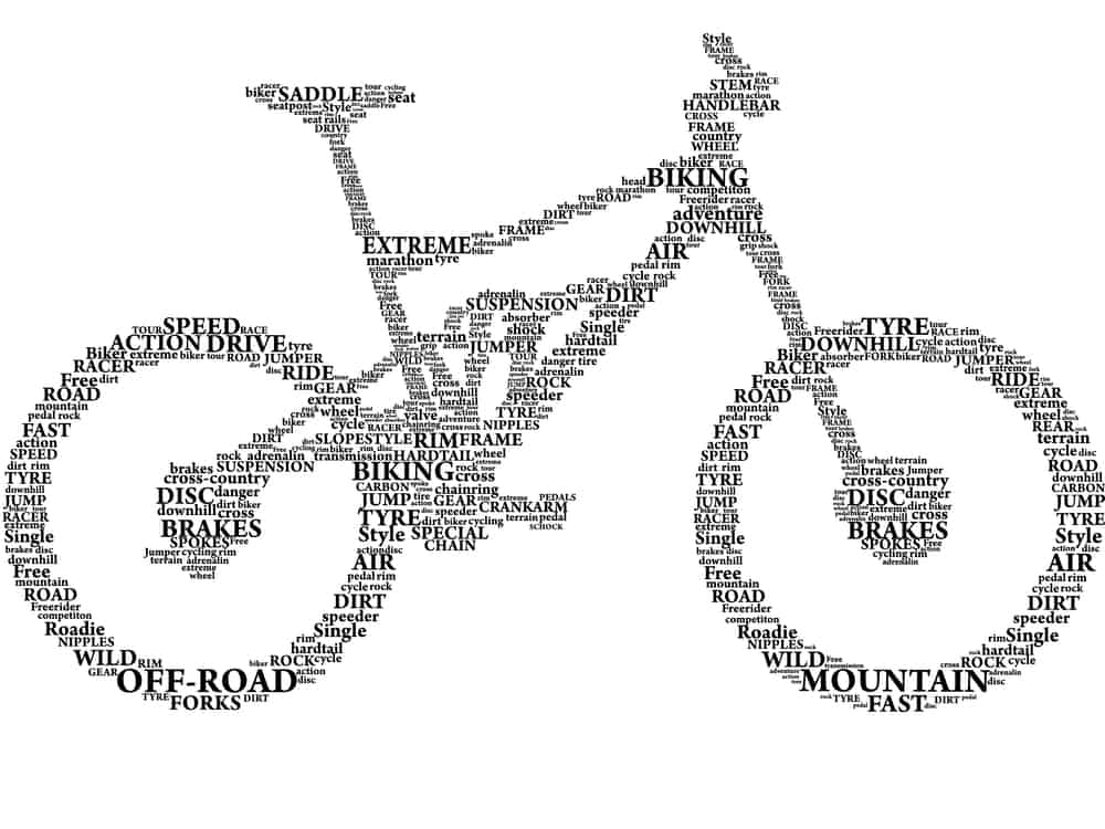 Silhouette of mountain bike in words related to parts and riding style