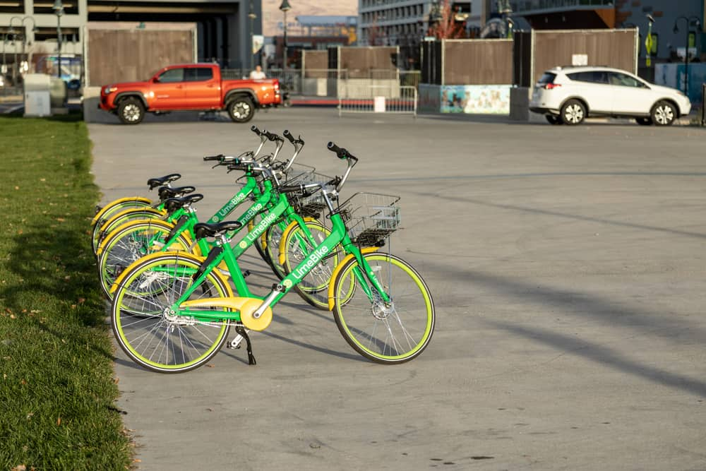 Reno, NV, USA 2018-10-27 - Lime bikes ready to ride lined up