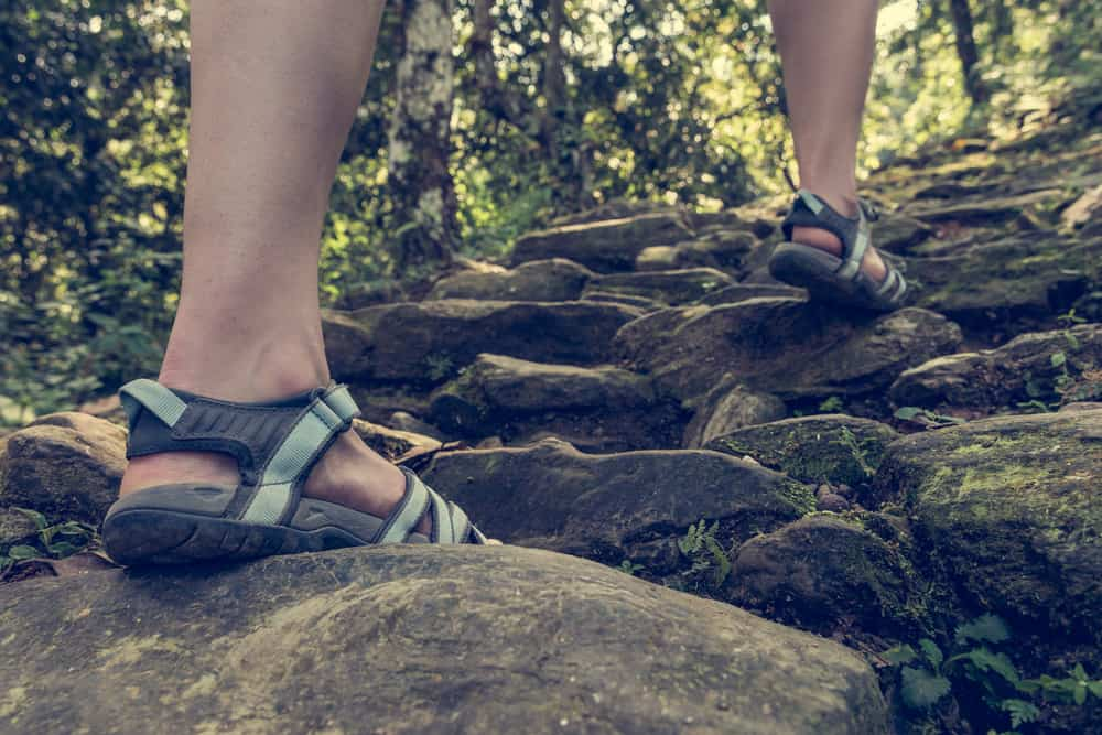 Closeup of female legs wearing sandals ascending forest staircase.