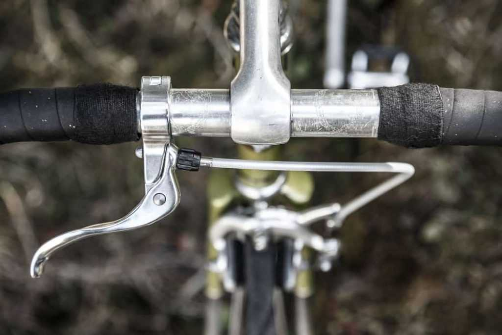 Handlebar of scratched bike